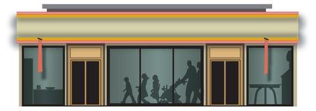 Shopping storefront. Modern shopping storefront building & illustration Stock Photos