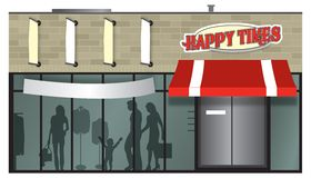 Shopping storefront. Brick storefront shopping center illustration