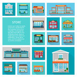 Shopping in stores icons set. Shopping in stores buildings  with big windows and trees icons set flat shadow isolated vector illustration Royalty Free Stock Image
