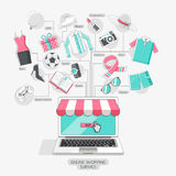 Shopping stores online conceptual line icons style. Vector illustration Royalty Free Stock Photo