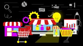 Shopping stores and shopping items.
