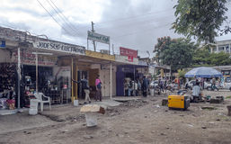 Shopping street in Arusha Royalty Free Stock Images