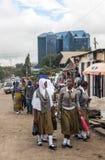 Shopping street in Arusha stock photo