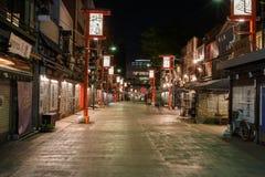 Shopping street Asakusa at night royalty free stock image