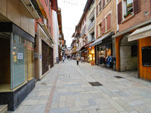 Shopping street of Bourg Saint Maurice village Stock Photography