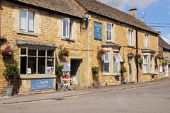 Shopping street, Bourton on the Water. Royalty Free Stock Photography