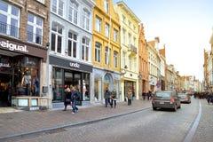 Shopping street in Bruges, Belguim Stock Images