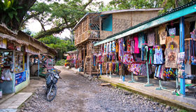 Shopping street of Bukit Lawang . The village Bukit Lawang near the river Bohorok. It is wellknown of the Orangutan Rehabilitation Centre in the Gunung Leuser royalty free stock photos