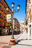 Shopping street and Cathedra. Zaragoza Royalty Free Stock Image