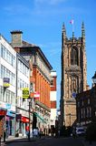 Shopping street and Cathedral, Derby. stock image