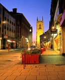 Shopping street and Cathedral, Derby. View along Irongate leading to the Cathedral at night, Derby, Derbyshire, England, UK, Western Europe stock photos