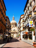 Shopping street and Cathedral in summer. Zaragoza Royalty Free Stock Photography