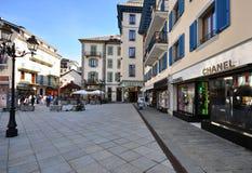 Shopping street in Chamonix, France Royalty Free Stock Photo