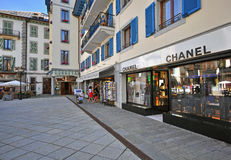 Shopping street in Chamonix Mont Blanc, France Royalty Free Stock Image