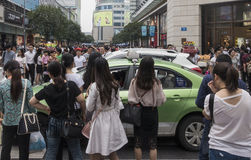 Shopping street .chengdu. Chunxi street,chinese famous business walking street in chengdu Royalty Free Stock Image