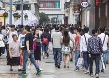Shopping street .chengdu. Crowd people,Chunxi street,chinese famous business walking street in chengdu Royalty Free Stock Photos