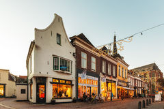 Shopping street with christmas decoration in the Dutch city of D Royalty Free Stock Photos