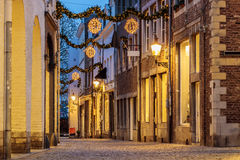 Shopping street with christmas lights in the city center of Maas Royalty Free Stock Photo