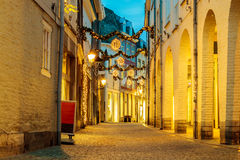 Shopping street with christmas lights in the city center of Maas Stock Photos