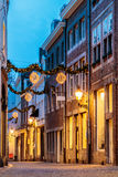 Shopping street with christmas lights in the city center of Maas Royalty Free Stock Photos