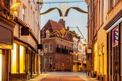 Shopping street with christmas lights in the city center of Zutphen. The Netherlands royalty free stock image