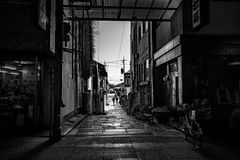 The Path Out. Shopping street in Chugoku region, Japan - January 2017 royalty free stock images
