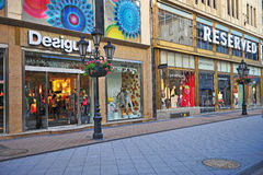 Shopping street in city centre of Budapest Royalty Free Stock Photo