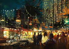 Shopping street city with colorful nightlife. Painting of shopping street city with colorful nightlife Stock Photo