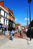 Shopping street, Derby. View of the shops along St Peters Street, Derby, Derbyshire, England, UK, Western Europe royalty free stock photos