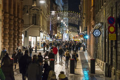 Shopping street Drottningatan evening Royalty Free Stock Photography