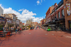 Shopping street in Eindhoven, Netherlands. Eindhoven, Netherlands - April 12, 2016: shopping street in Eindhoven with unidentified people. With about 225,000 Royalty Free Stock Photo