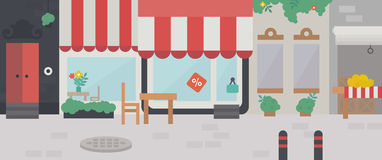 Shopping street, the exterior facade of buildings. Shopping street with street cafes. Flat vector illustration stock illustration
