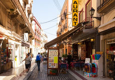 Shopping street   in Figueres, Catalonia Stock Photography