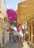 Shopping street in Fira Santorini. Stock Photos