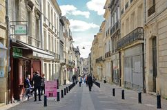Shopping street in the French city Bordeaux Royalty Free Stock Photography