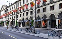 Shopping street of Geneva, Switzerland Stock Images