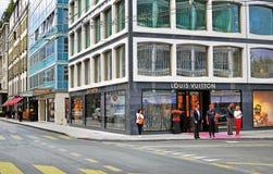 Shopping street, Geneva Royalty Free Stock Photos