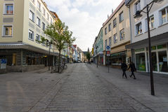Shopping street in the historical part of the city stock photography