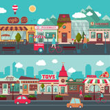 Shopping Street Horizontal Banners. With people moving cars facades of stores restaurants and cafes vector illustration stock illustration