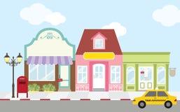 Shopping Street. Illustration of strip mall shopping center Royalty Free Stock Photo