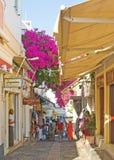 Shopping Street In Fira Santorini. Stock Photos