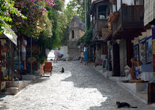 Shopping Street with King of Lykas Tomb, Kaş Stock Image