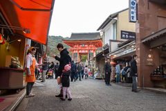 Shopping street in Kiyomizu-dera Temple Royalty Free Stock Image