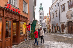 Shopping street in Krumlov, Czech republic Royalty Free Stock Photography