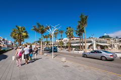 Shopping street in Las Americas on February 23, 2016 in Adeje, Tenerife, Spain. Royalty Free Stock Images