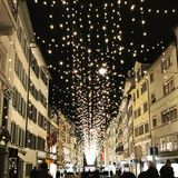 Shopping Street Lights Zurich Switzerland. Luxury Christmas Shopping Royalty Free Stock Images