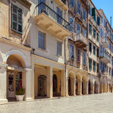 Shopping street Liston of the old city with ancient houses, Corf Royalty Free Stock Photography