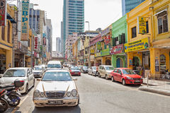 Shopping street in Little India district of Malaysia's capital city. Stock Photos