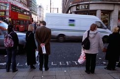 A Shopping street in London. Scene at a shopping street in London Royalty Free Stock Photo