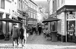 Shopping Street in Maastricht. Royalty Free Stock Photo